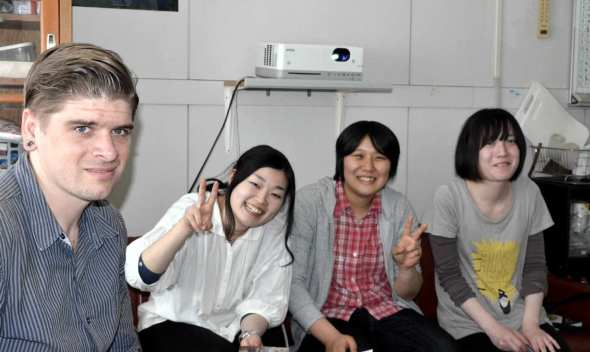 Ryan Shannon with post-graduate astronomy students at Yamagata University.