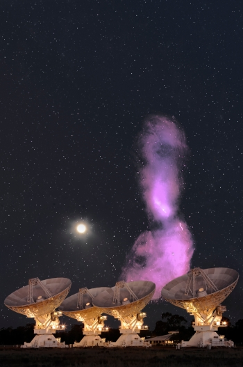 The giant radio galaxy Centaurus A, to scale on the sky. The Compact Array image of it is the most detailed ever made. I. Feain, T. Cornwell, R.D. Ekers, R. Morganti, N. Junkes. ATCA photo: S. Amy