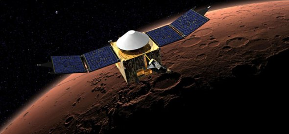 MAVEN - Artists impression of NASA's latest spacecraft to explore the red planet. Image: NASA/JPL