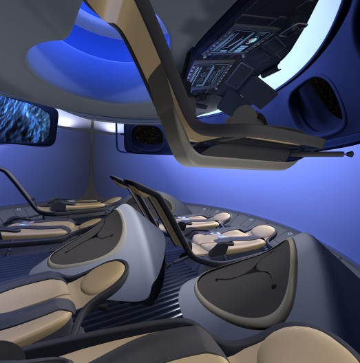 Concept art of the interior of Boeing's CST-100 spacecraft. Image: Boeing