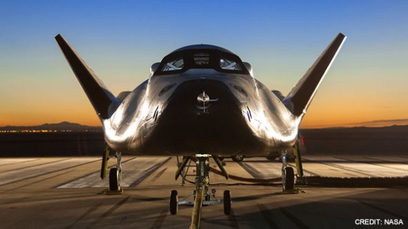 A mockup of Sierra Nevada Corproration's Dream Chaser. Image: SNC