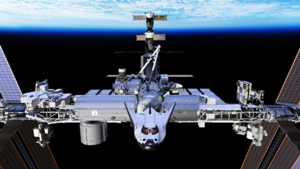 Artist's concept of the Dream Chaser spacecraft docked to the International Space Station. Image: SNC