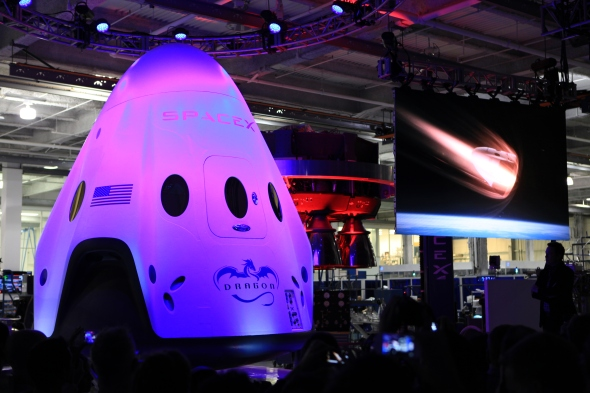 Unveiled at Space X's headquarter, the Dragon 2 capsule will take astronauts to the International Space Station. Image: Space X