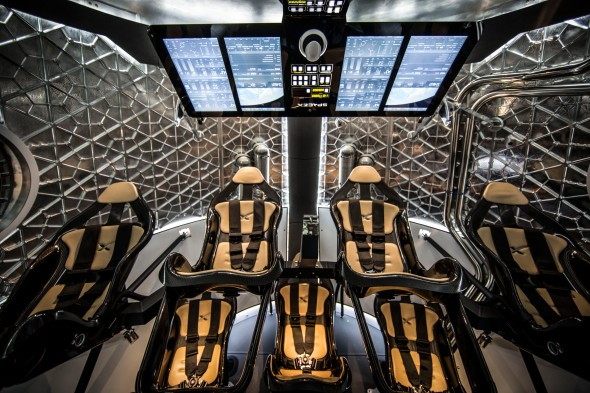 The interior design of the Dragon 2 spacecraft. Image: Space X