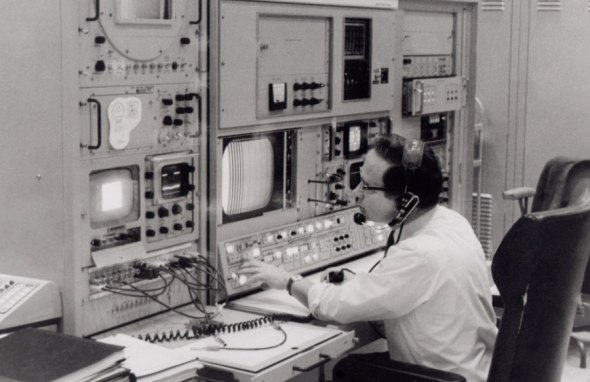 Video technician Ed von Renouard at the TV console at Honeysuckle Creek July 21, 1969. Image: Courtesy www.honeysucklecreek.net
