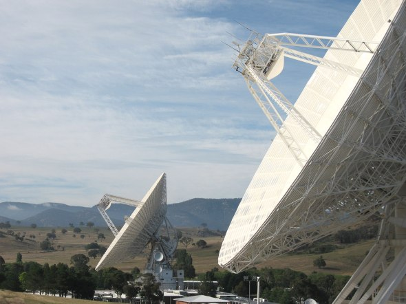 LISTENING: The deep space dishes of the Canberra Deep Space Communication Complex. Image: Astro0