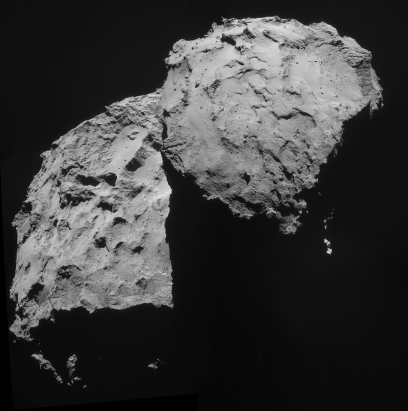 Comet 67P Churyumov Gerasimenko is a relative newcomer to the inner solar system, possibly originating from the Oort Cloud. Image: ESA