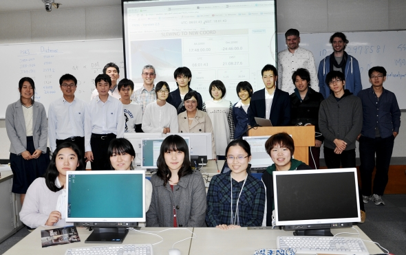 The happy group at the end of a successful PULSE@Parkes observing session at Kagoshima University.