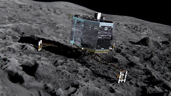 Artist's impression of the Philae lander on the surface of the comet. Image: ESA