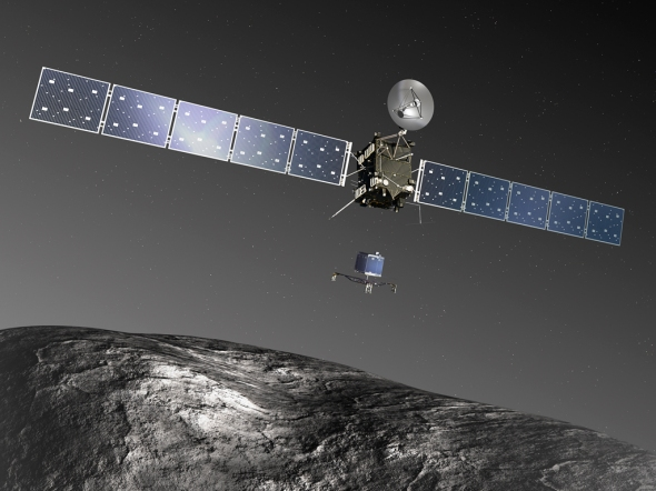 The Rosetta spacecraft drops off the Philae lander for a 7 hour descent towards the comet's surface. Image: ESA