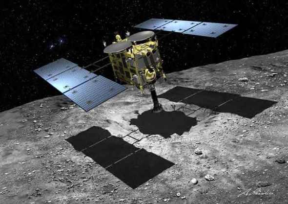 Hayabusa 2 touches down on the asteroid to retrieve samples. Image: JAXA