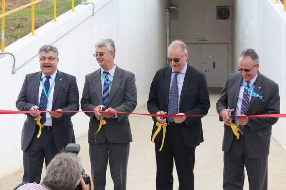3,2,1... The ribbon cutting marked the official commissioning of the new Deep Space Network antenna.