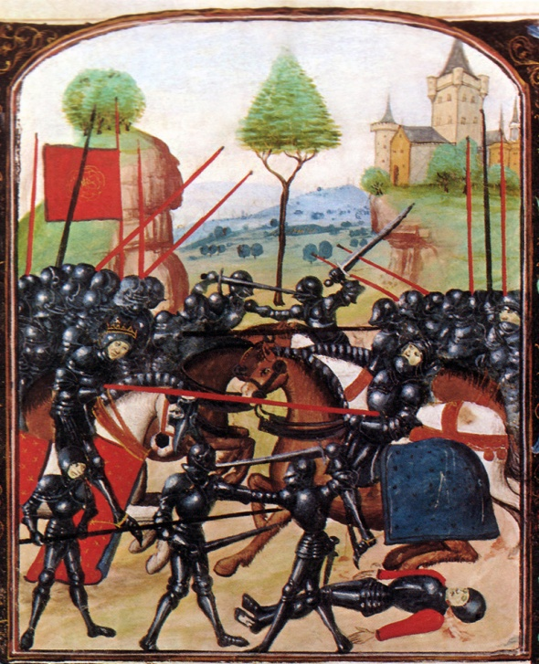Armoured knights fighting a battle