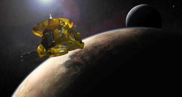 Historic Encounter: Artist's concept of the New Horizons spacecraft flying past Pluto and Charon. Image: NASA